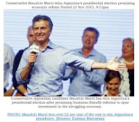 Conservative Mauricio Macri wins Argentina's presidential election promising economic reform Nov. 2