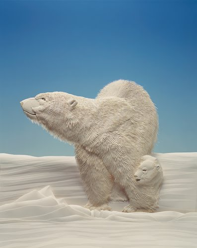 Paper Sculpture Polar Bears