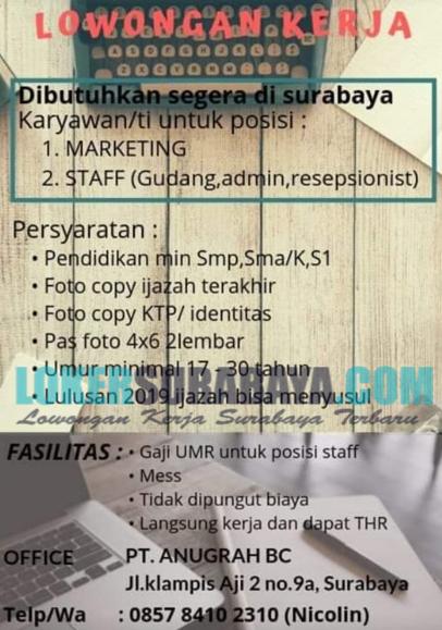 Lowongan Kerja Surabaya Fresh Graduate 2019 Di Pt Anugrah Bc
