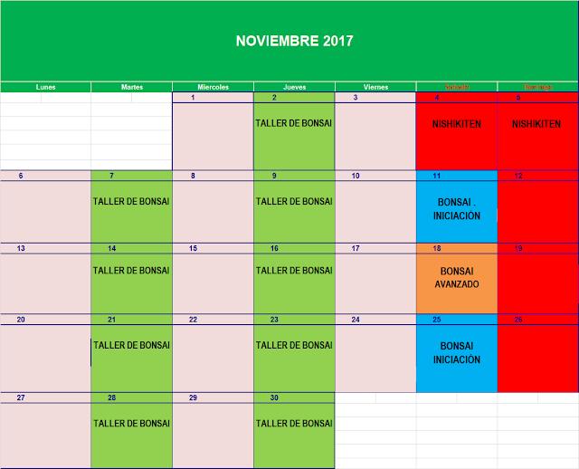 CALENDARIO CURSOS BONSAI Y TALLERES EN 2017-2018
