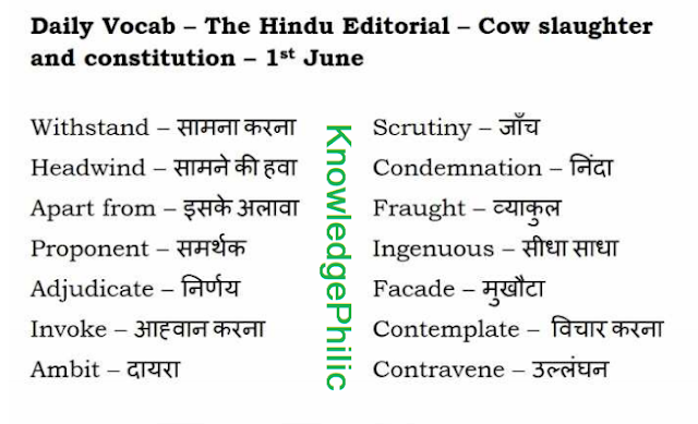 The Hindu Vocabulary Compilation of June 2017 in PDF Download Free