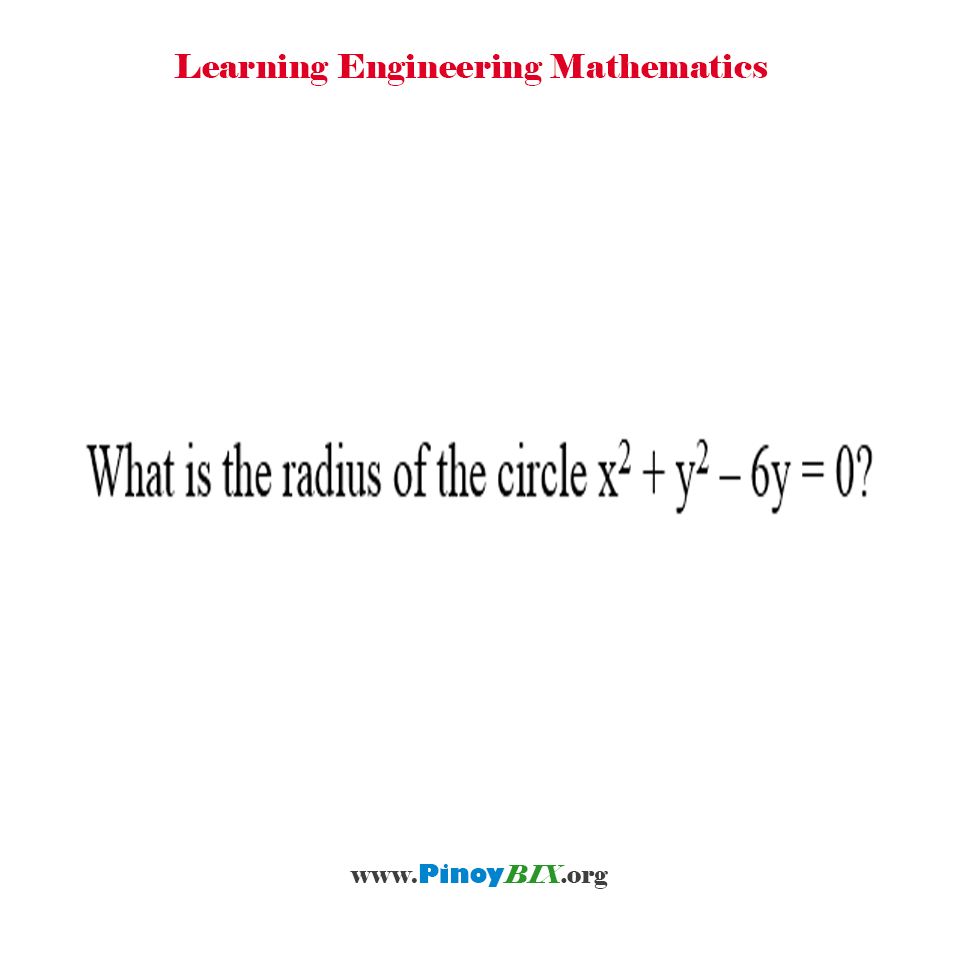 What is the radius of the circle x^2 + y^2 – 6y = 0?