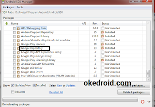 Google Repository di Android SDK Manager