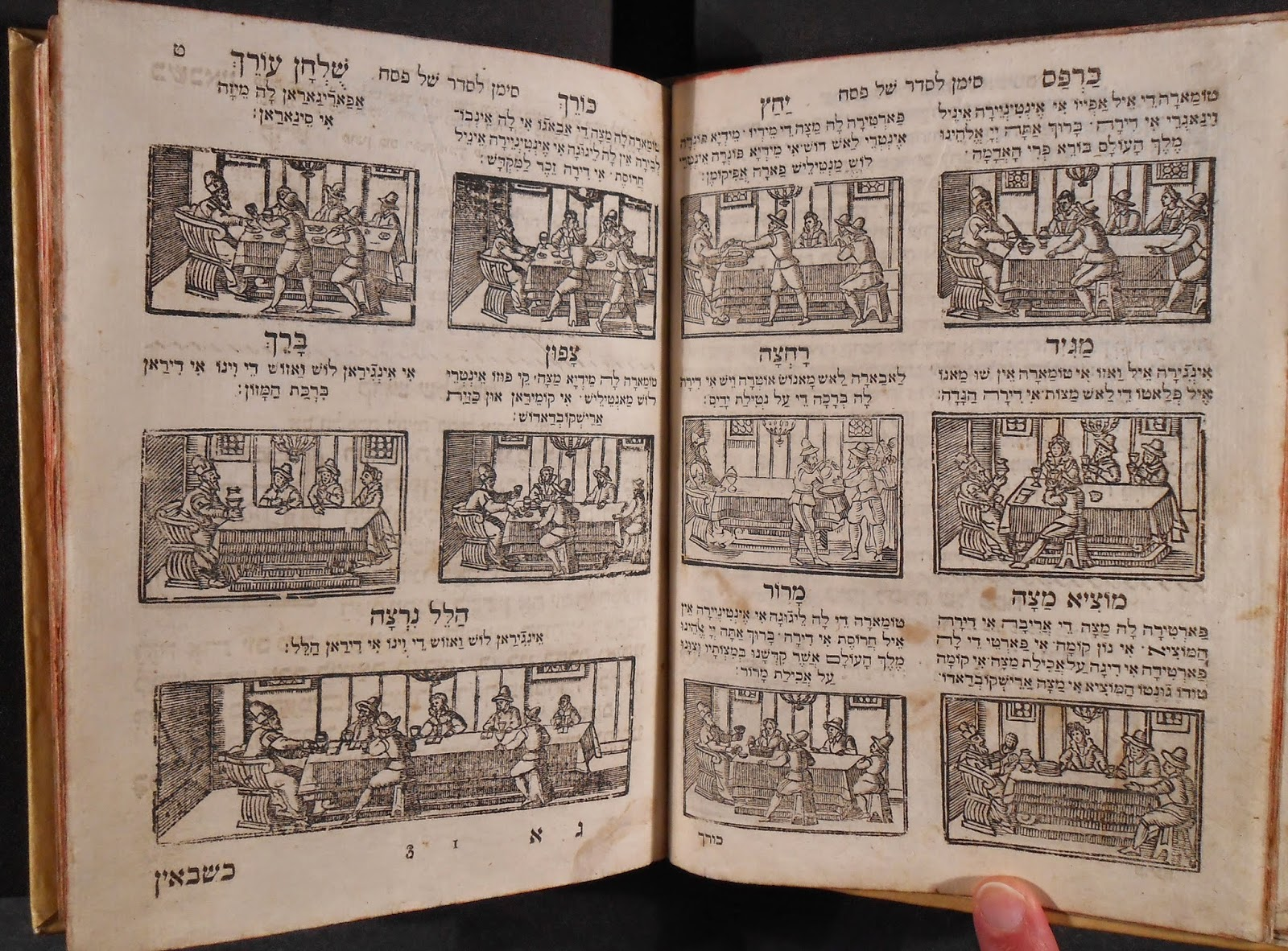 A series of twelve woodcuts accompanied by Hebrew text, showing the progression of a Seder.