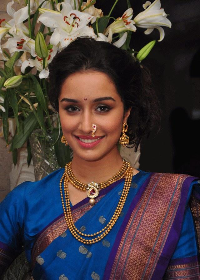 Glamorous Bollywood Actress Shraddha Kapoor Photos In Traditional Blue Saree