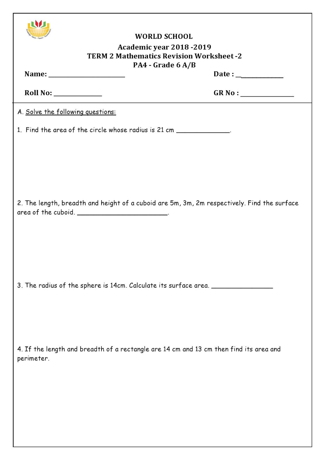 WORLD SCHOOL OMAN: Homework for Grade 6 as on 18-04-2019 [ 1600 x 1131 Pixel ]