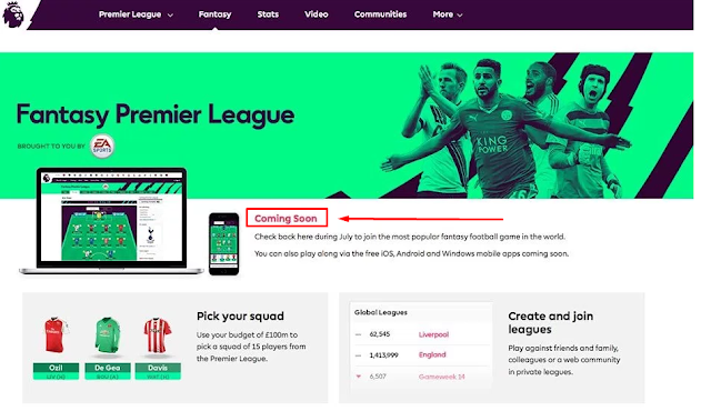 "Gambar Game Fantasy Premier League ""Coming Soon"""