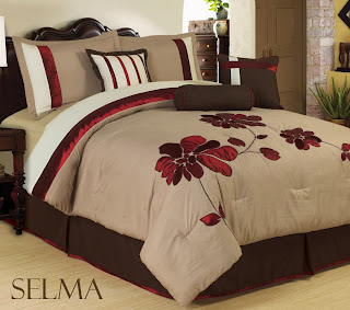 Bednlinens 7 Piece Burgundy Queen Applique Mega Floral Bedding Comforter Set