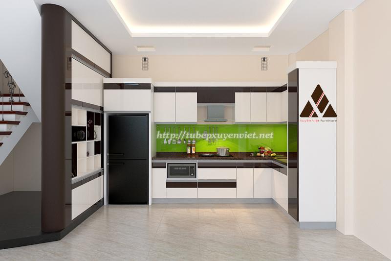 Tủ bếp đẹp chữ L màu đen trắng sang trọng
