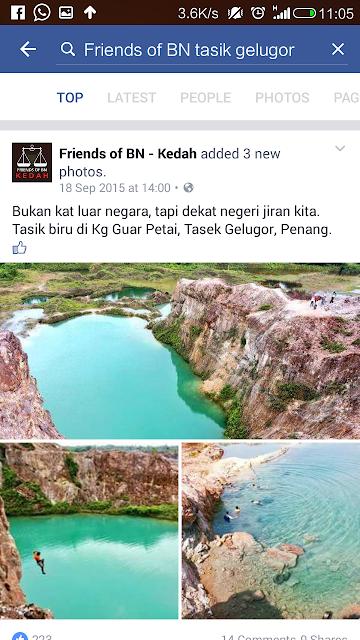 gambar dikongsi friends of BN Kedah, gambar lombong guar petai, kelebihan keburukam watermark, cara buat watermark,