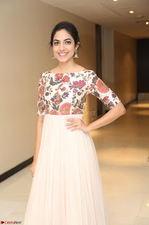 Ritu Varma smiling face Cream Anarkali dress at launch of OPPO New Selfie Camera F3 ~  Exclusive 089.JPG