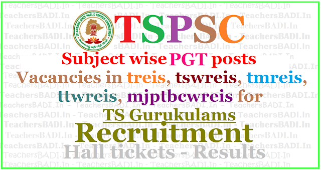 Subject wise PGT posts Vacancies in treis,tswreis,tmreis,ttwreis,mjptbcwreis