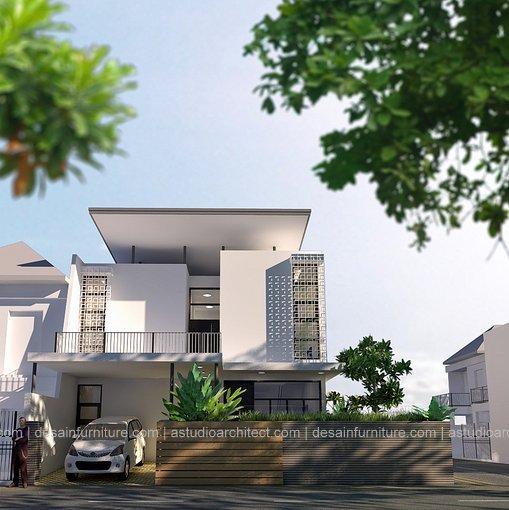 Desain rumah pojok 12 x 14 m