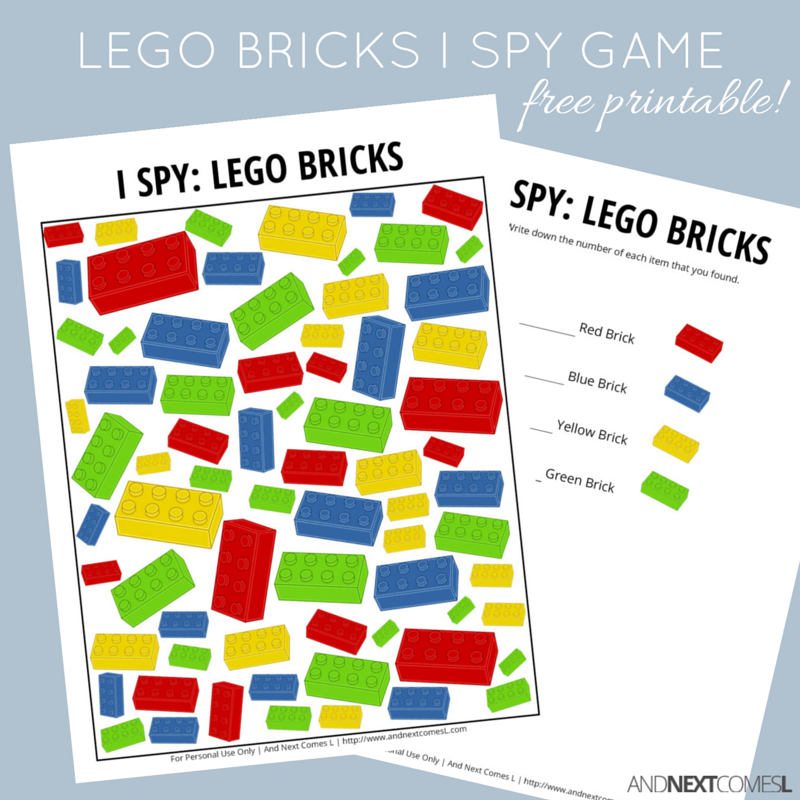 LEGO Bricks Themed I Spy Game {Free Printable for Kids} | And Next ...