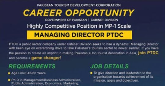 Cabinet Division Jobs 2020 Pakistan Tourism Development Corporation