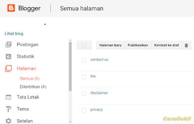 Cara Membuat Halaman Di Blog Lengkap+Script Agar Diterima Adsense