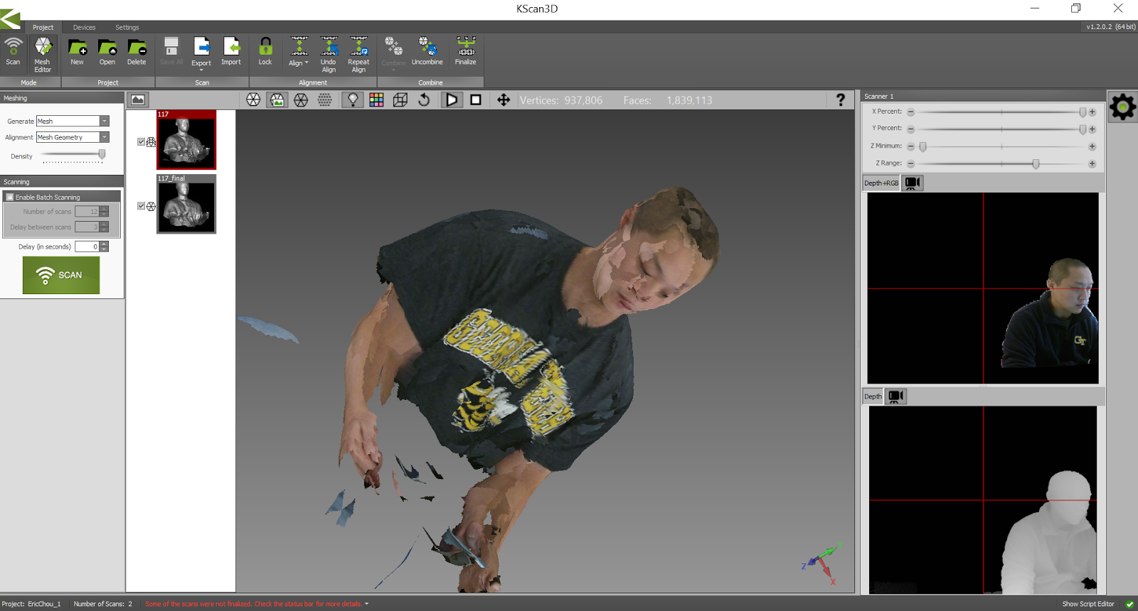 Network Automation Nerds: 3D Scan with Kinect