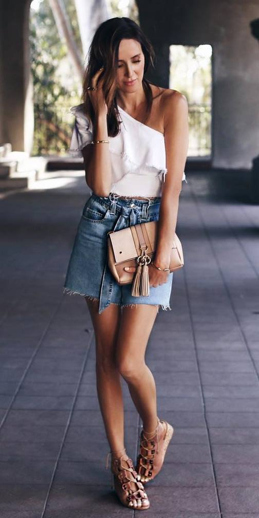 what to wear with a denim skirt : white top + bag + sandals