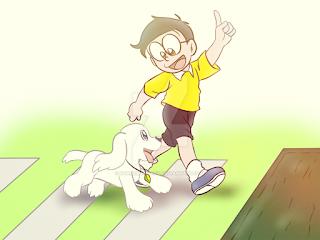 Nobita happily walking with dog