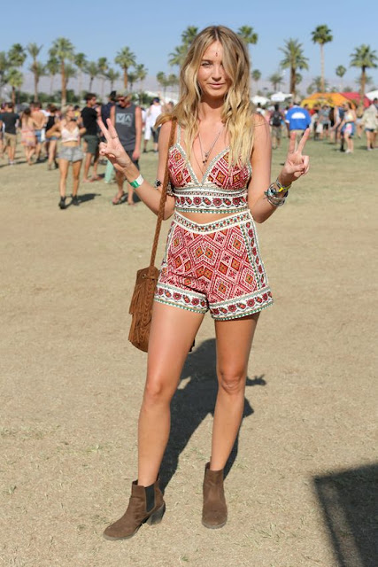 Boho Print Halter Shorts Co-Ord Set+ Suede Boots  - Coachella Style Festival Fashion