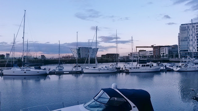 Yachts in Belfast harbour marina