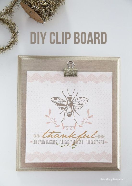 DIY Christmas gift idea - clipboard and glitter clips