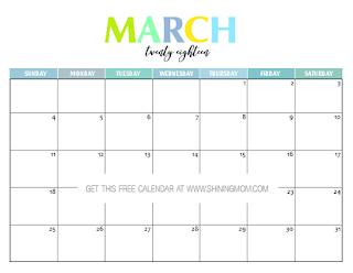 Free Printable Calendar March 2018