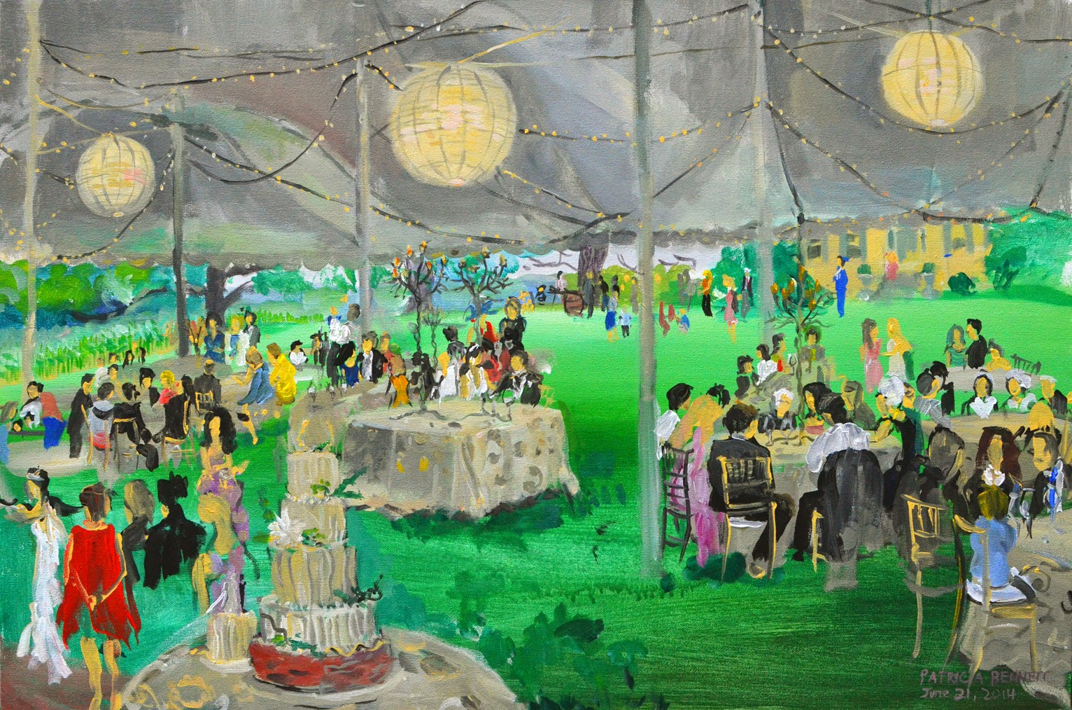 Painting Of A Wedding Reception Next To Boordy Vineyards