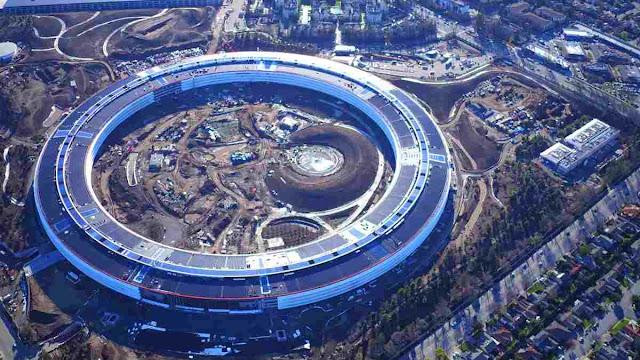Lihat perkembangan Kampus terbaru Apple melalui Drone
