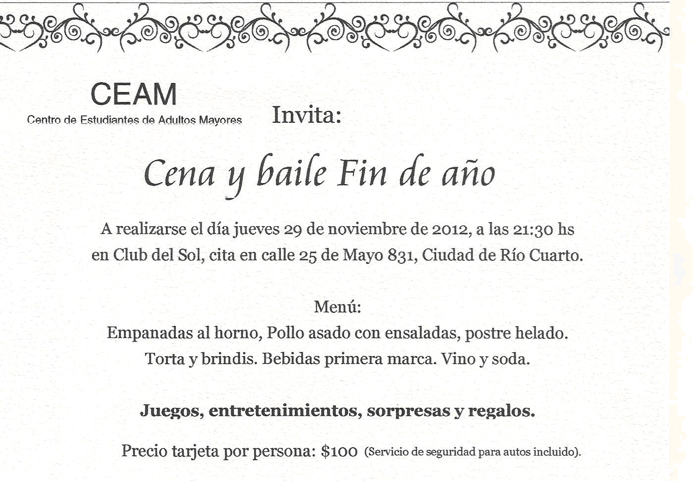 Tercer Escalón Cena Y Baile De Fin De Año Invitación Del Ceam