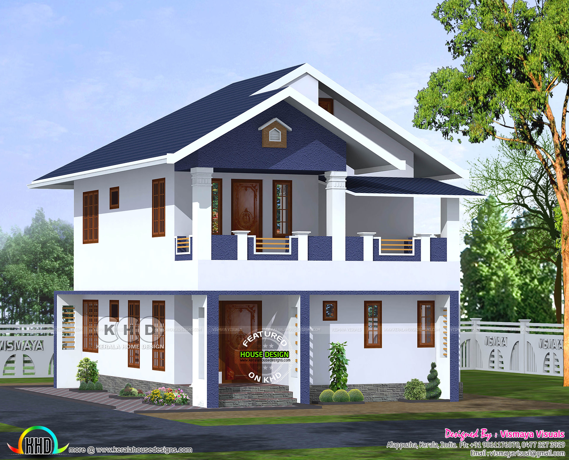 4 bhk sloped roof house architectcure kerala home design for Slope home design