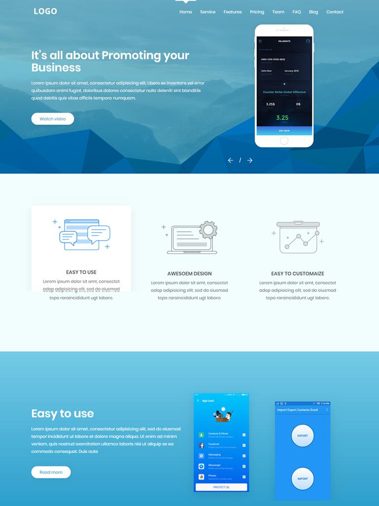 Landing Page giới thiệu ứng dụng điện thoại