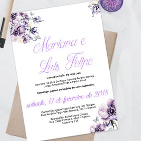 Convite de casamento ultravioleta editavel no word