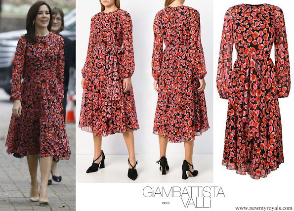 Crown Princess Mary wore Giambattista Valli Black Floral Petal Printed Dress