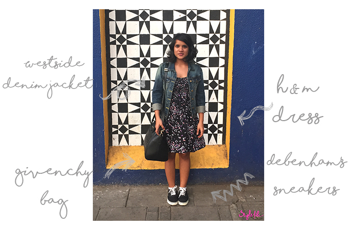 Dayle Pereira the blogger at Style File wears a printed dress with a denim jacket , sneakers and tote for the Kala Ghoda Festival in Mumbai