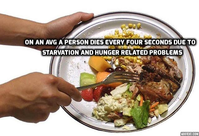 Food wastage think before you dump because many people suffering from starvation