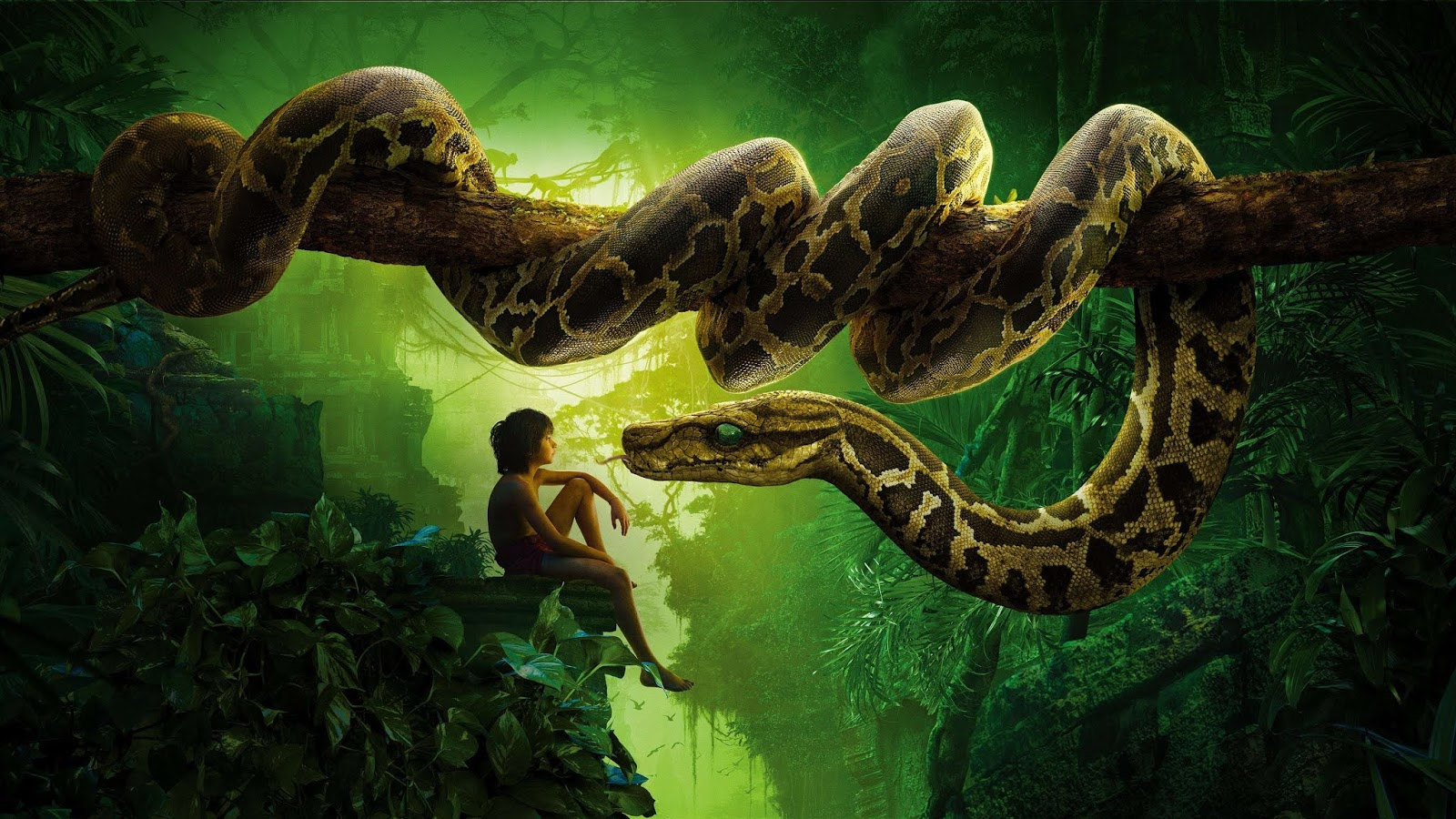 The Jungle Book (2016) - Neel Sethi as Mowgli, the orphaned human boy, and Scarlett Johansson as Kaa, the enormous female python