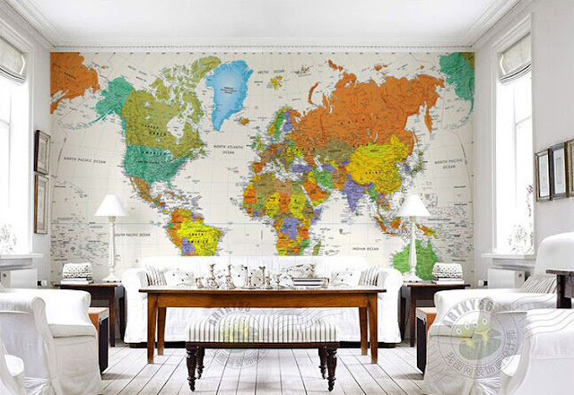 World Map Wall Mural Wall Wallpaper Livingroom