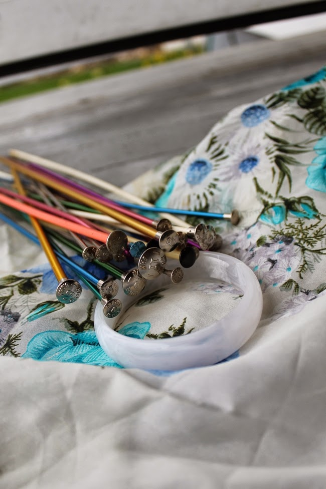 1950s silk scarf, vintage knitting needles, Lucite bangle bracelet