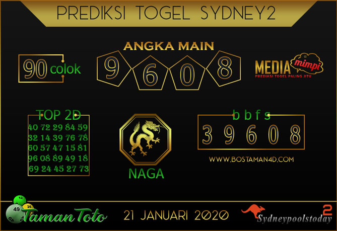 Prediksi Togel SYDNEY 2 TAMAN TOTO 21 JANUARI 2020