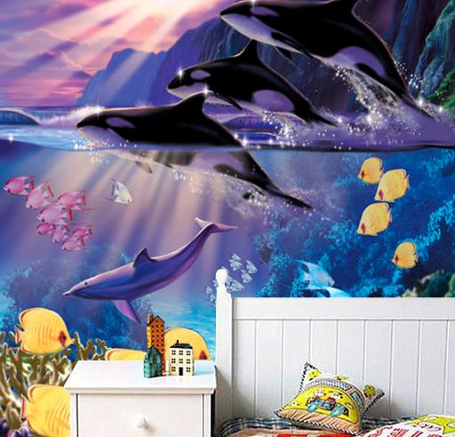 akvaario Tapetti Miekkavalas Valokuvatapetti delfiinit makrilli vedenalainen koralliriutta kala akvaario tapetti mosaiikki koralli
