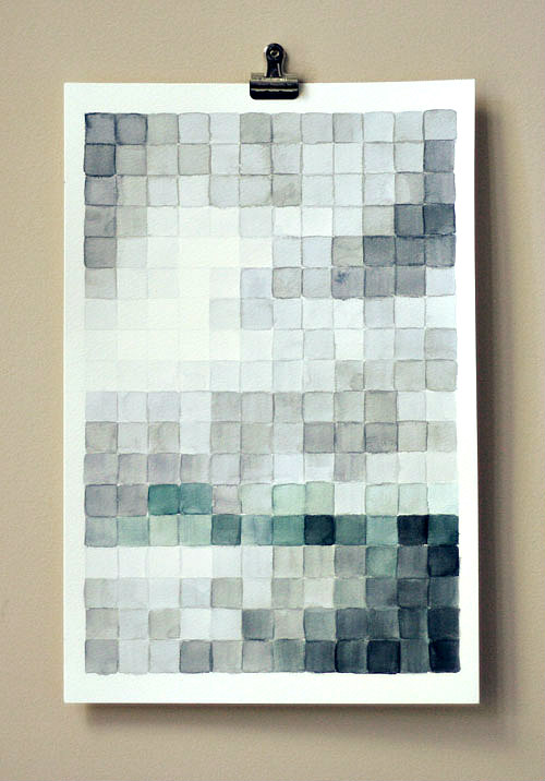 Subdued-color pixelated watercolor art clipped to wall
