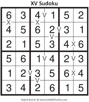 6x6 XV Sudoku (Mini Sudoku Series #60) Answer