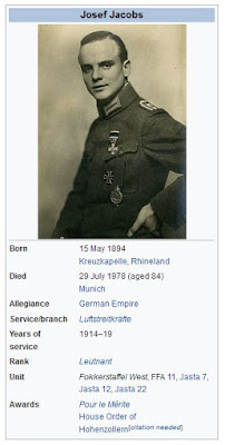 Wikipedia entry on Josef Jacobs WW1 German Flying Ace