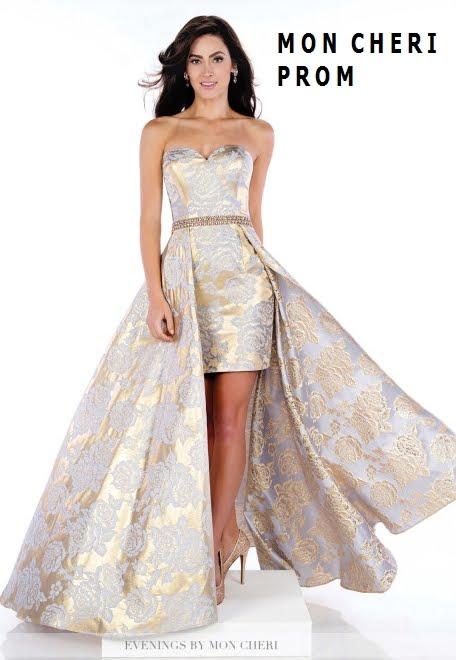 1696be1a3 Vestido straples con falda de capa para prom en brocado de seda