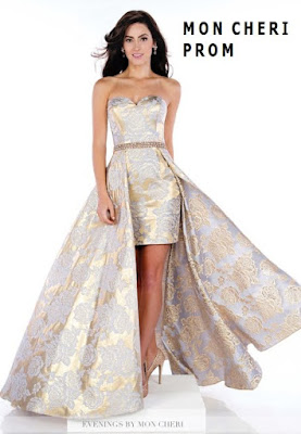 Vestido straples con falda de capa para prom en brocado de seda