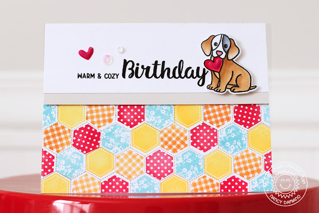Sunny Studio Stamps: Quilted Hexagons Warm & Cozy Birthday Card by Nancy Damiano