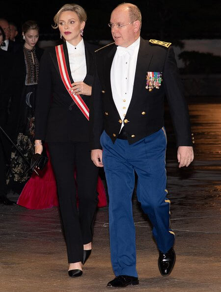 Prince Albert II, Princess Charlene, Princess Caroline and Beatrice Borromeo Casiraghi at the gala evening