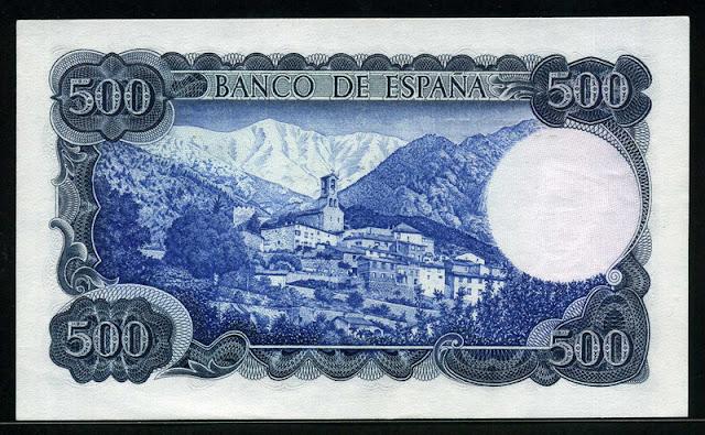 Spain currency money 500 Pesetas Mount Canigo Village of Vignolas d'Oris