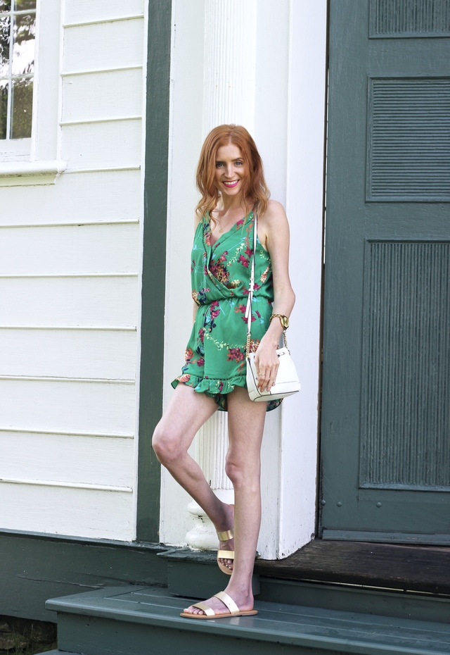 green floral romper, Rebecca Minkoff bucket bag, gold flat sandals; Summer Style